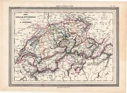 Svájc térkép 1861, olasz, eredeti, atlasz, Európa, XIX. század, Vuillemin