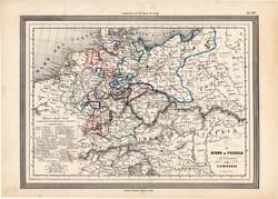 Poroszország és Németország térkép 1861, olasz, eredeti, atlasz, Európa, észak, államok