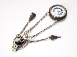 Különleges francia kulcsos zsebóra ezüst lánccal!