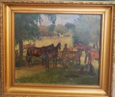 Chiovini Ferenc (1898-1981) Életkép  c.festménye Eredeti Garanciával