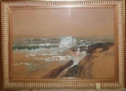 Neogrády Antal (1891-1962) Hullámzó tenger c.akvarellje Eredeti Garanciával