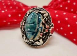 Csodaszép  türkiz szkarabeuszos kézműves ezüstgyűrű
