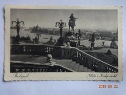 Régi képeslap: Budapest, Kilátás a királyi várból, 1933