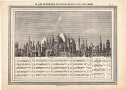 Építmények magassága, nyomat, térkép 1861, olasz, eredeti, atlasz, épület, piramis, palota, méret