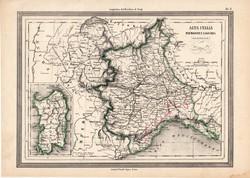 Piemont és Liguria térkép 1861, olasz, eredeti, atlasz, Olaszország, Szardínia, tartomány, állam