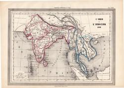 India és Indokína térkép 1860, olasz, eredeti, atlasz, Ázsia, Himalája, 1861, XIX. század