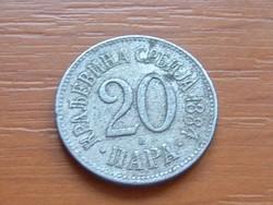 SZERBIA 20 PARA 1884 H (BIRMINGHAM) #