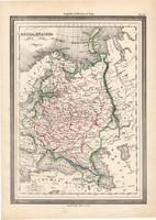Oroszország térkép 1861, olasz, eredeti, atlasz, Európa, megye, felosztás, észak, európai