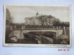 Régi képeslap: Kőszeg, a M. kir. államvasutak árvaháza, 1929
