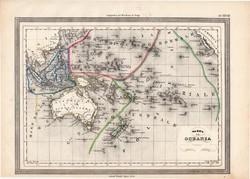 Óceánia térkép 1861, olasz, eredeti, atlasz, Ausztrália, Új - Zéland, Új - Guinea, Borneó, Jáva