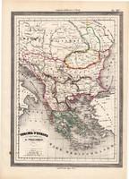 Törökország térkép 1861, olasz, eredeti, atlasz, Európa, európai része, Balkán, Görögország