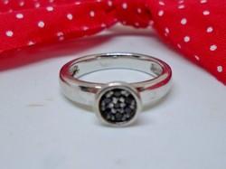 Szépséges régi apró ónix köves ezüstgyűrű