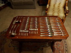 Antik ezüst 12 személyes étkészlet! Nettó 4,5 kiló!!!