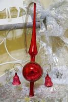 Antik üveg karácsonyfa csúcsdísz