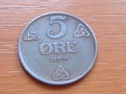 NORVÉGIA 5 ŐRE 1941 #