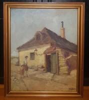 Guzsik Ödön (1902 -1954) -Tabán c.festménye Eredeti Garanciával