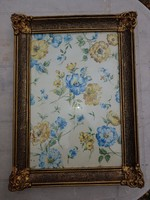 Gyönyörű virágmotívumos akvarell, menthető blondell keretben