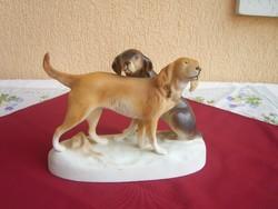 Royal Dux kutyapár ritka biszkvit festéssel. 28cm.