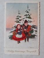Régi karácsonyi képeslap 1933 népviseletes magyaros