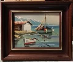 Jelzett hajós témájú festmény, szép keretben ( keretezett méret 23 x 28 )