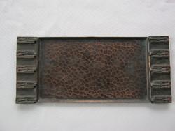 Móga Sándor iparművész réz íróasztaldísz névjegykártyatartó