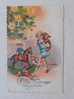 Régi karácsonyi képeslap 1937 hintalovas
