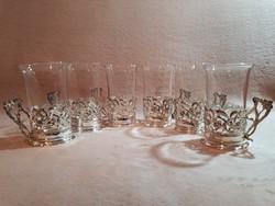 Szecessziós ezüstözött pohár készlet