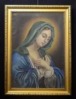 Antik 1822 olaj-vászon festmény, szentkép, Szűz Mária festmény
