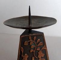 Bronz iparművészeti gyertyatartó, hibátlan, remek forma és arány
