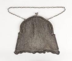 0Y645 Antik fűzött ezüstözött színházi táska