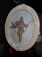Porcelán keretes üvegkép, virág motívummal, tökéletes állapotban, kb.25x30