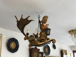 Különleges Barokk Sellős Agancsal Aplikált Faragott Facsillár