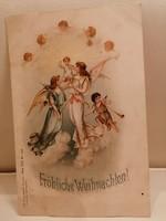 Karácsonyi régi képeslap 1898- angyal