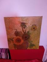Gyönyörű kép, olajfestmény napraforgók vázában, kvalitásos virágcsendélet