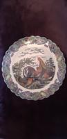 Antik nagyméretű kakasos porcelán dísztányér