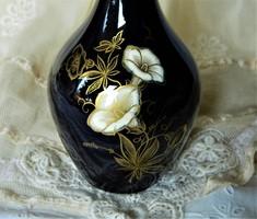 Gyönyörű Limoges echt kobalt, 22. kr. arany, kézzel festett váza, virág