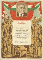 Rákosi Mátyás-emléklap-1950-es évek