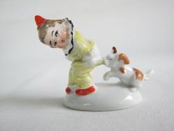 Wagner & Apel porcelán bohóc kisfiú kutyával