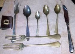 Régi alpakka villa, kanál, kés, gyufatartó pótlásnak