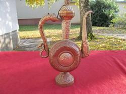 Régi, kézi kalapált, sárga/vörös réz karaffa, kiöntő (27cm)