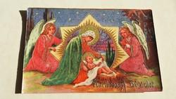 Régi karácsonyi képeslap angyalos Mária Jézus