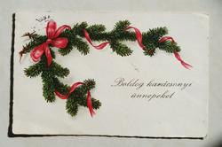 Régi karácsonyi képeslap fenyőágas