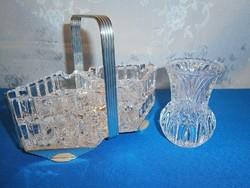 J_047 / 4 db üveg hamutál, hamutartó fém tartóban, ajándék váza
