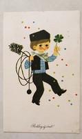 Régi újévi képeslap kéményseprős lóherés üdvözlőlap