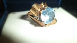 Art deco arany gyűrű / akvamarin