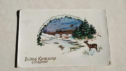 Régi karácsonyi képeslap 1928 őzikés havas táj