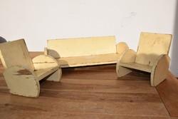 Ritka Art Deco gyerek játék bútor kanapé fotel JÁTÉKBOLTOK kirakatába
