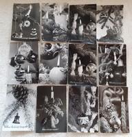 Retro karácsonyi képeslap fekete-fehér 12 db