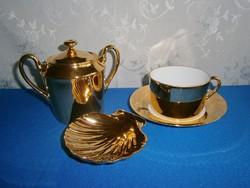 J_038 / 4 részes Francia porcelán arany színű teás készlet: csésze alátéttel, cukortartó + hamutál