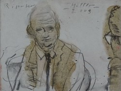 Müller Árpád - Riporter 25 x 32 cm ceruza, farost